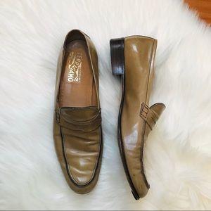 Salvatore Ferragamo Patent Loafers 11 Narrow Gray